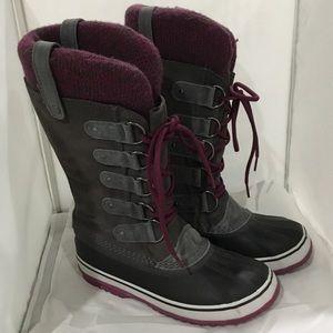 Sorel Joan of arc purple gray winter boots